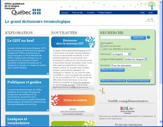 Lu sur le net le grand dictionnaire terminologique - Office de la langue francaise dictionnaire ...
